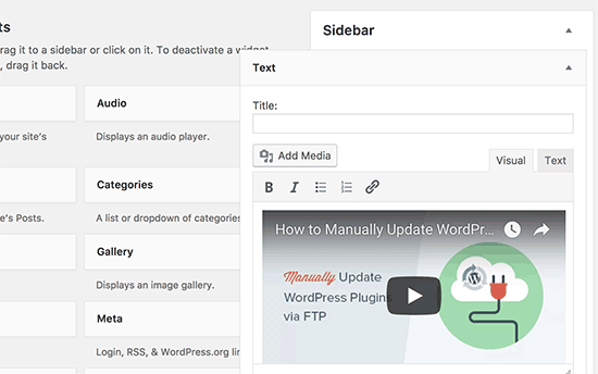 wordpress web embed widget